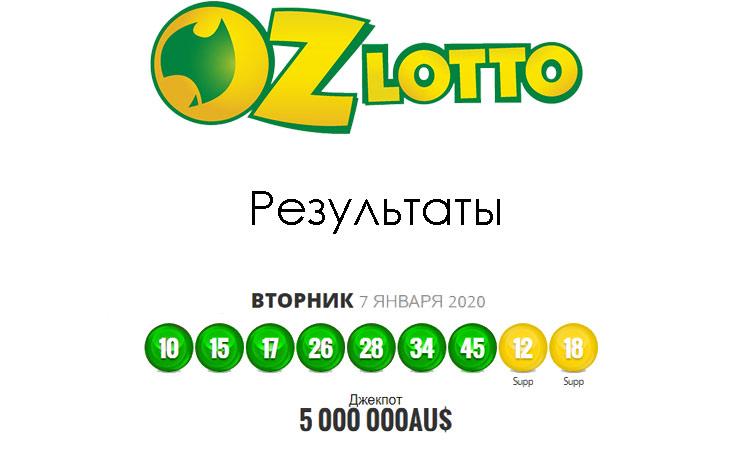 результаты лотереи oz lotto